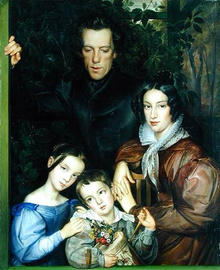 XKH144506 The Rauter Family, 1836 (oil on canvas) by Dieterich, Johann Friedrich (1787-1846) oil on canvas 110.5x89.5 © Hamburger Kunsthalle, Hamburg, Germany German, out of copyright