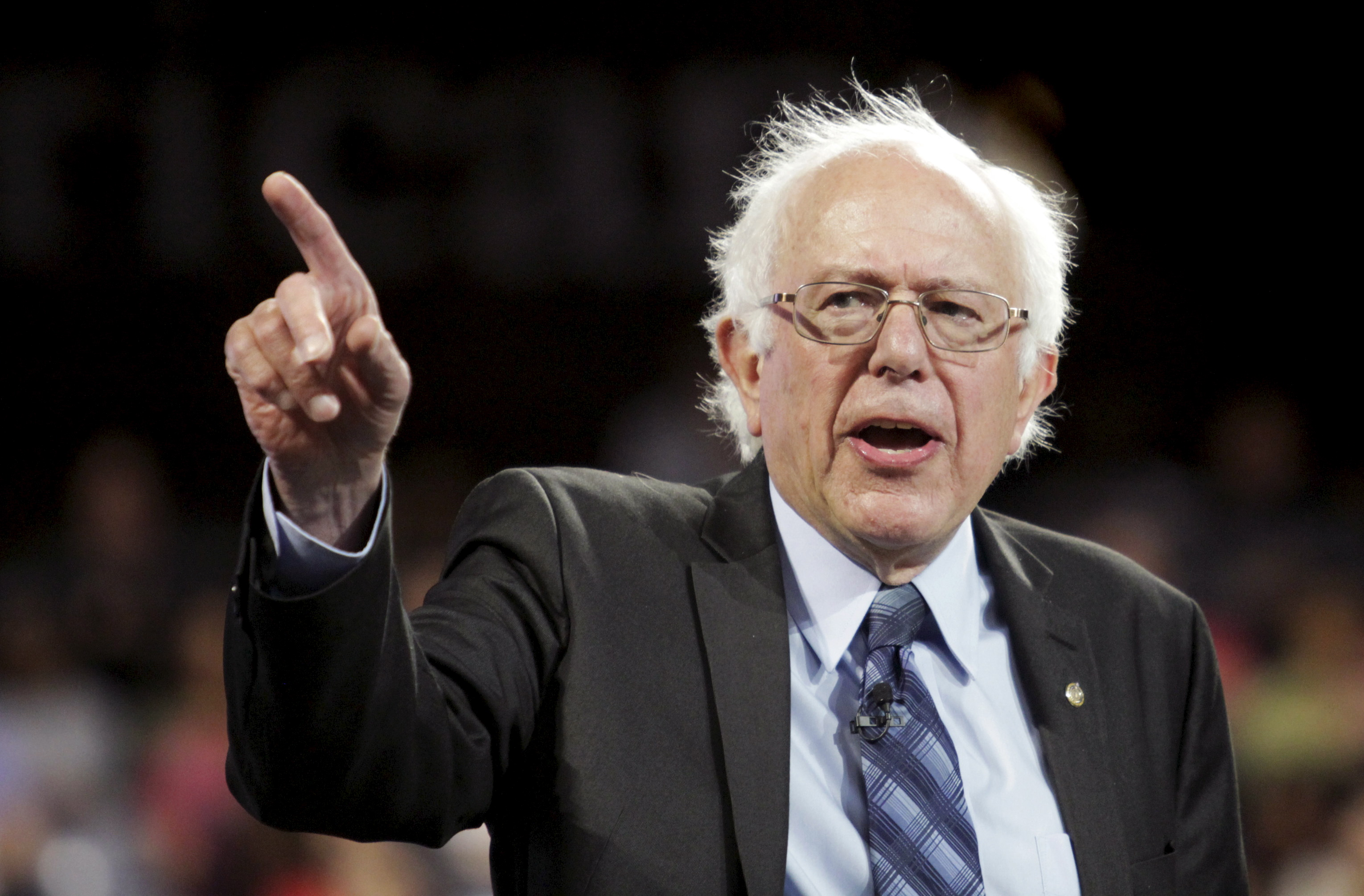 U.S. Democratic presidential candidate Sen. Sanders delivers an address to Liberty University students in Lynchburg